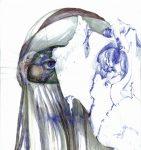 Blessure (woman's tears), 2015, Encre, graphite, stylo, aquarelle et couture sur papiers superposés, caisson recto-verso