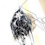 Vanité 04, 2006, fusain, marqueur, encre de chine, mine de plomb, acrylique spray sur papier, 48,5 x 64,6 cm