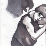 Sans titre (Corps étranger) 02, 2015, encre, fusain sur papier coton,